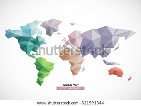 Vector world map design. geometric style Triangle pattern continents with different colors - stock vector