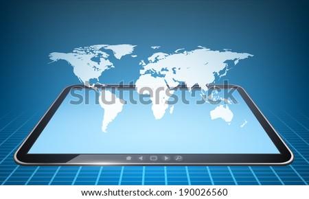 Vector world map hologram illustration on touch tablet model. - stock vector