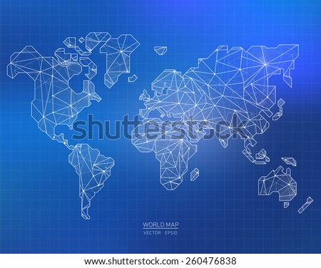 Vector World Map illustration in polygonal style - stock vector