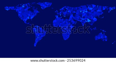 Vector world map illustration with glowing blue triangles - stock vector