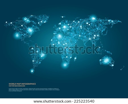 Vector world map illustration with glowing points and lines. - stock vector