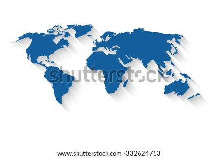 Vector world map in a flat style with a long gradient shadow