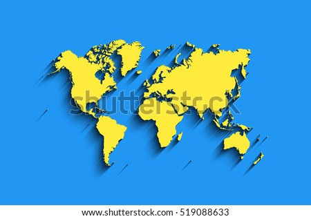 Vector world map blue yellow colors stock vector royalty free vector world map in blue yellow colors with shadow modern map background clear gumiabroncs Choice Image