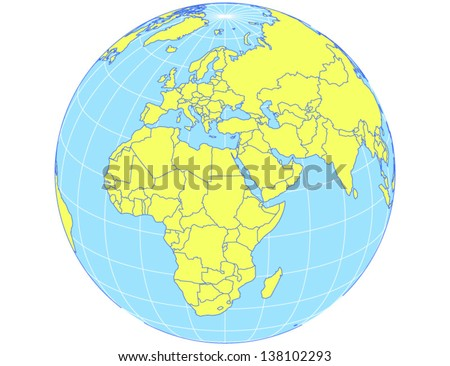 Vector world map orthographic projection globe stock vector 2018 vector world map in orthographic projection as globe centered on europe and africa eps10 file gumiabroncs Choice Image