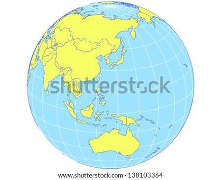 Vector world map in orthographic projection as globe centered on the Asia-Pacific region. EPS10 file with every country as selectable path. - stock vector