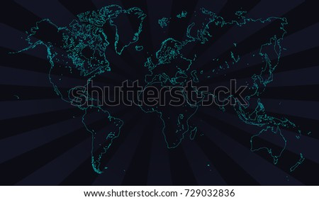 Contour Line Drawing Map : Vector world map neon contour deep stock