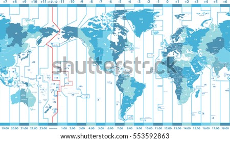 Vector world map local time zones vectores en stock 553592863 vector world map of local time zones centered by america gumiabroncs Images