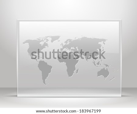 Vector world map on glass frame stock vector hd royalty free vector world map on glass frame gumiabroncs Gallery