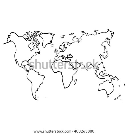 Vector world map on white background, doodle. World map vector.  World map eps. World map design. World map art. World map illustration. World map sign. World map flat. World map picture.