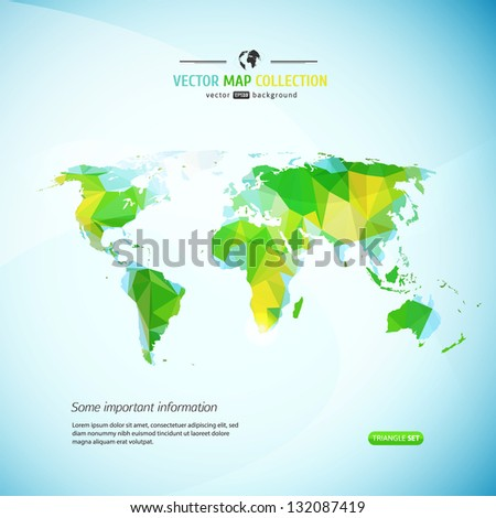 Vector world map triangle set stock vector 132087419 shutterstock vector world map triangle set gumiabroncs Image collections