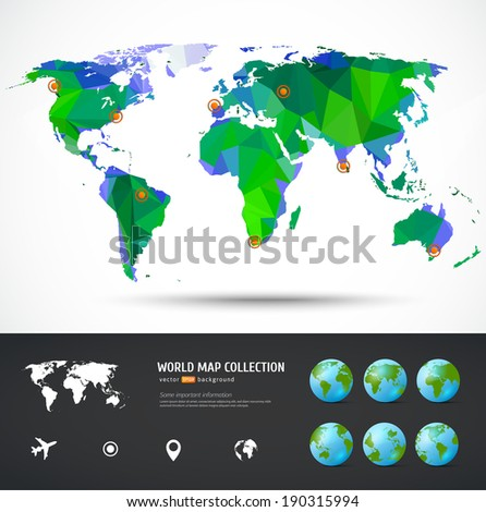 Vector World map. Triangle set. Map for your traveling bochure - stock vector