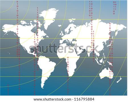 Vector World Map, White on Blue EPS10 - stock vector