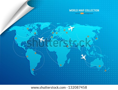 Vector World map with airways and information graphics