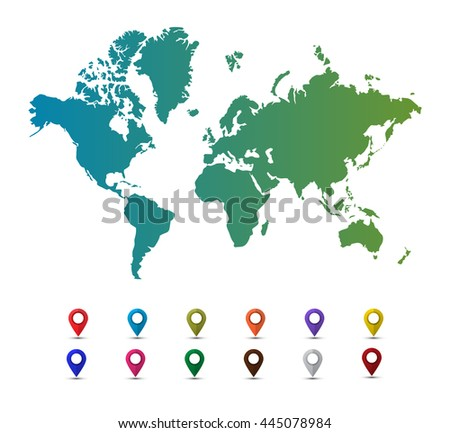 Vector world map with colorful pointer marks isolated on a white background. Map pin. Map pointer. Flat style vector illustration - stock vector