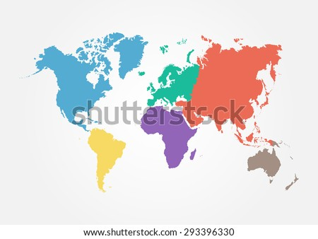Vector World map with continent in different color ( flat design )  - stock vector