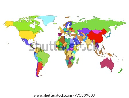 Vector world map countries borders presentations stock vector vector world map with countries borders for presentations annual reports and infographic isolated on gumiabroncs Choice Image