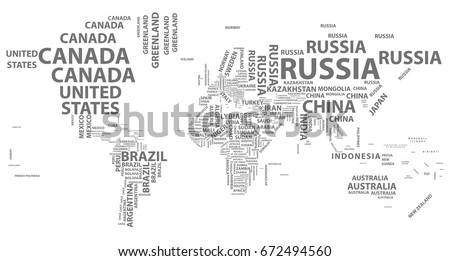 Vector World Map Country Names Typography Stock Vector 672494560