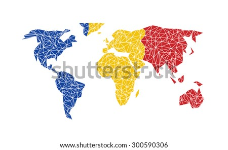 Vector World Map With Flag Of Romania.