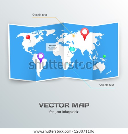 Vector world map infographic elements vectores en stock 128871106 vector world map with infographic elements gumiabroncs Gallery