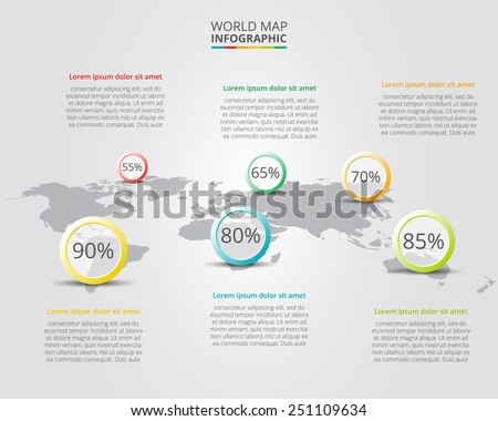 Vector world map with infographic elements - stock vector