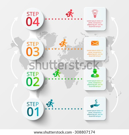 Vector world map with infographic elements. Template for diagram, graph, presentation. Business concept with 4 options, parts, steps or processes. Abstract background - stock vector