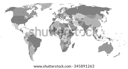 Vector world map labels sovereign countries vectores en stock vector world map with labels of sovereign countries and larger dependent territories every state is gumiabroncs