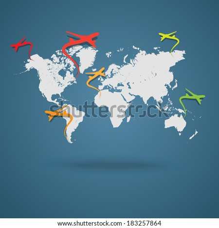 Vector world map with planes - background   - stock vector