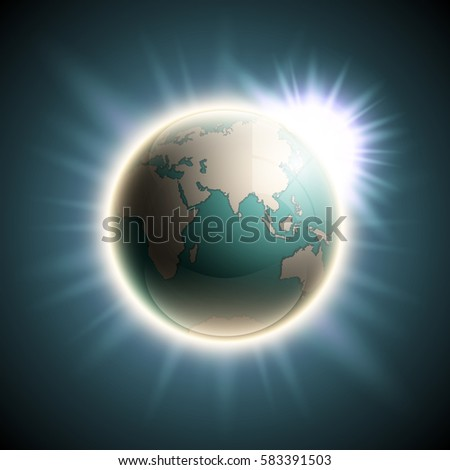 Vector world map with the rising sun. Globe icon in the space sunlight. Planet Earth on sunny glow background view from space. Continents world Sunshine picture. Colorful poster presentation
