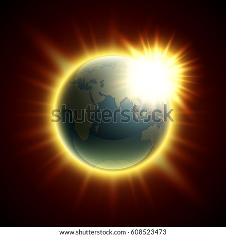 Vector world map rising sun globe stock vector 608523473 vector world map with the rising sun globe icon in the space sunlight planet gumiabroncs Choice Image