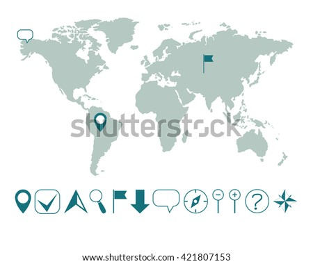 Vector world map various icons easy stock vector 421807153 vector world map with various icons easy editable gumiabroncs Images