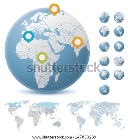 Vector World maps and Earth globes showing Europe, North and South Americas, Africa, and Asia
