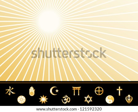 vector - World Religions Poster. Gold symbols: Confucianism, Buddhism, Jain, Bahai, Islam, Hindu, Shinto, Judaism, Native Spirituality, Taoism, Christianity, Sikh. Copy space. EPS8 compatible. - stock vector