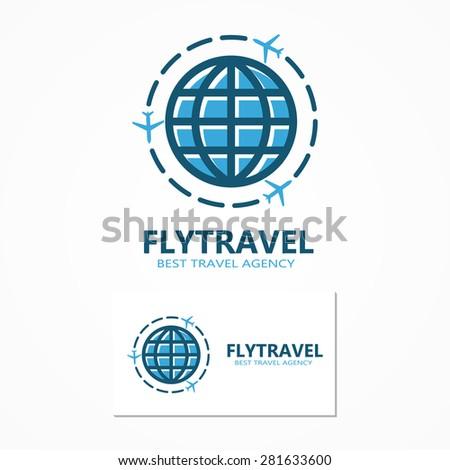 Vector world travel logo - stock vector