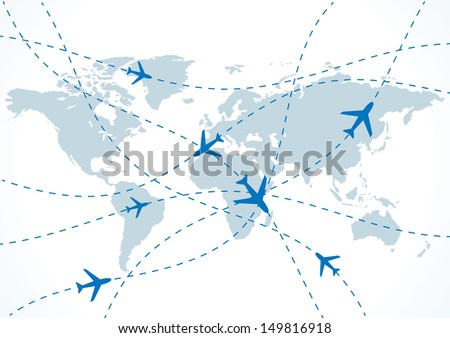 vector world travel map with planes.  - stock vector