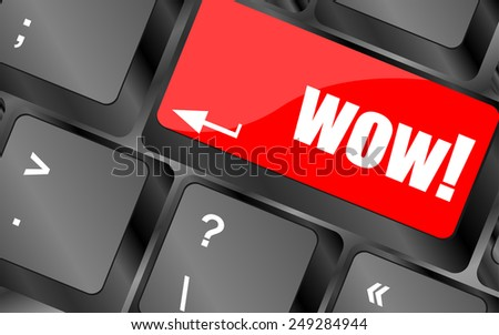 vector wow button on computer keyboard key - stock vector