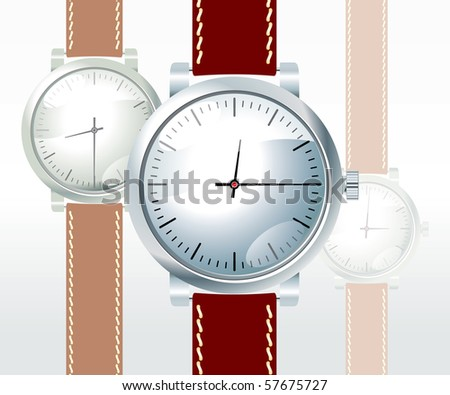vector wristwatch on white background - stock vector