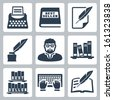 Vector writer icons set: typewriter, bestseller, feather, blank, inkpot, writer, books, typing, writing - stock vector