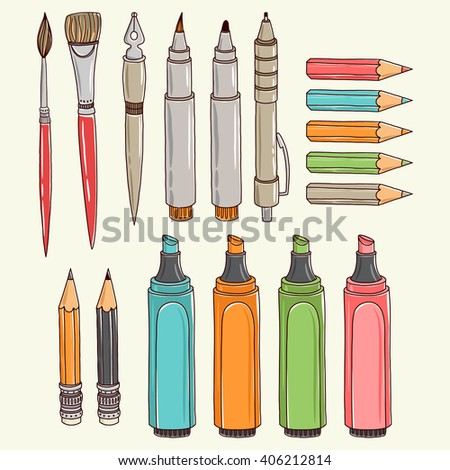 Vector writing and painting tools. Freehand drawing - stock vector