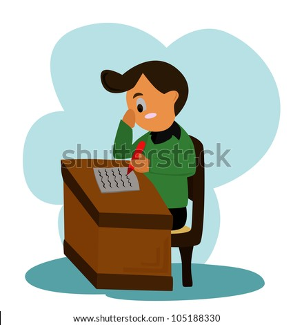 Vector - Writing cartoon - The man is writing. - stock vector