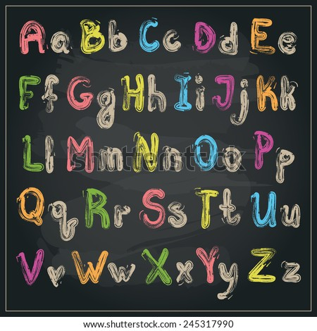Vector written with a brush colorful alphabet on a blackboard background - stock vector