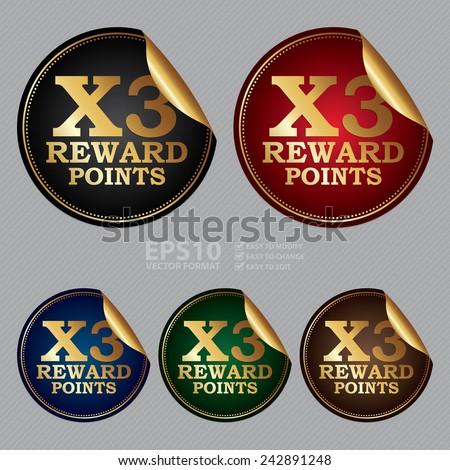 Vector : X3 Reward Points Sticker, Icon or Label - stock vector