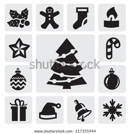 vector xmas and new year background on gray - stock vector