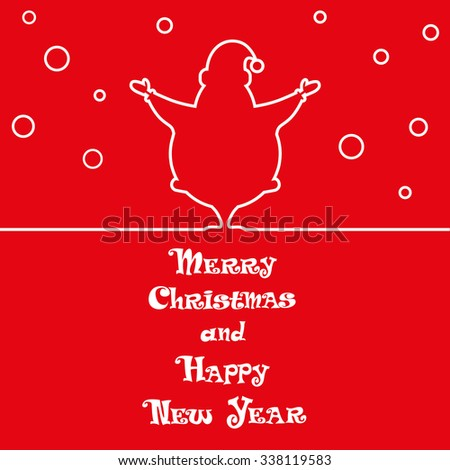 Vector Xmas banner Santa Claus silhouette and hand drawn text Merry Christmas and Happy new Year for design tickets or invitations on party