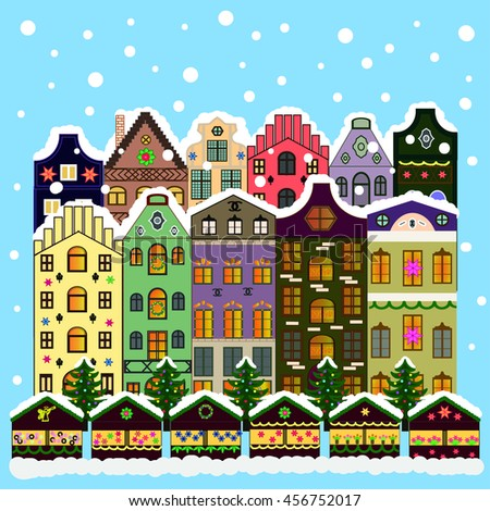 Vector xmas card with a decorated snowy old town at Christmas eve
