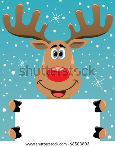 vector xmas illustration of happy Reindeer holding blank paper for your text - stock vector