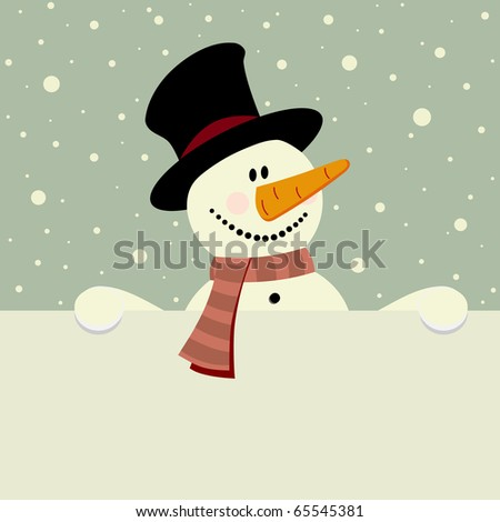 vector xmas illustration of happy snowman holding blank paper - stock vector