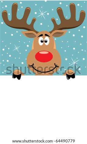 vector xmas illustration of reindeer holding blank paper for your text - stock vector