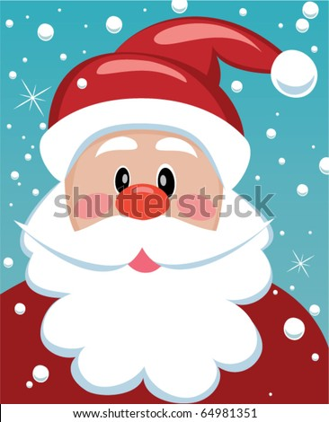 vector xmas illustration of santa with big beard for your text - stock vector