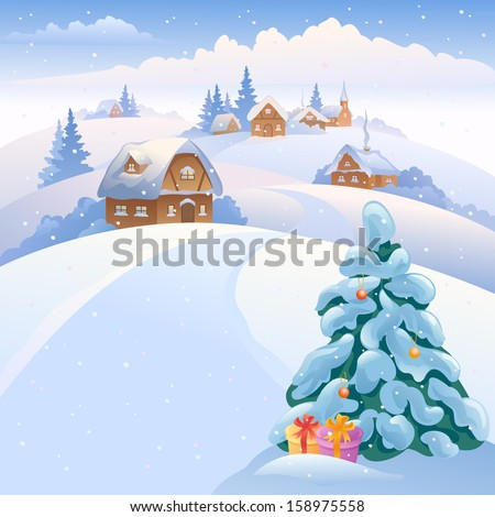 Vector xmas illustration with a beautiful snowy small village on the hills  - stock vector