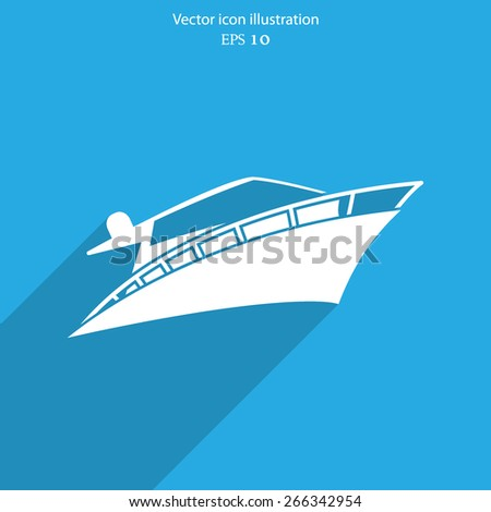 Vector yacht flat icon illustration.